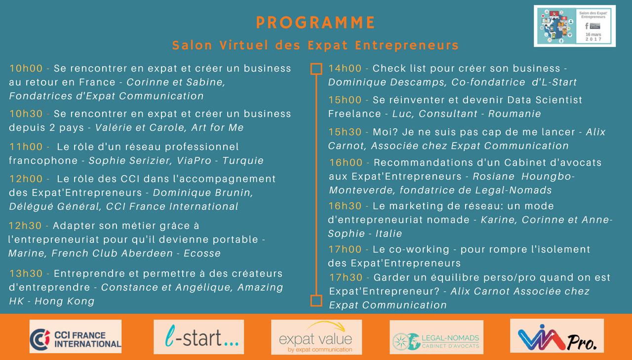 PROGRAMME Salon Virtuel des Expat'Entrepreneurs